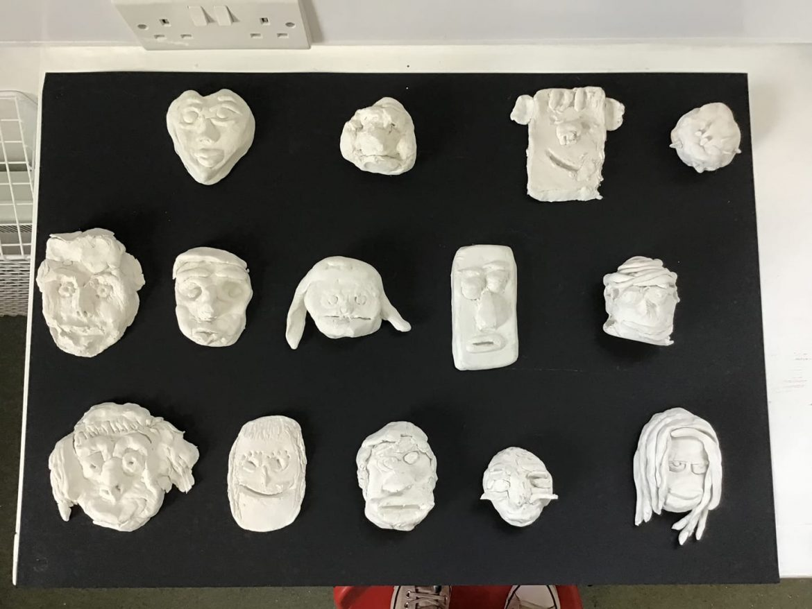 Impressive clay faces at Kingswear Primary School