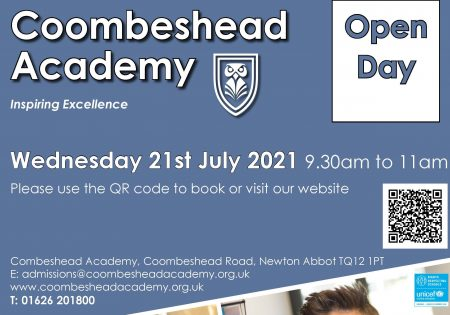 Coombeshead Academy Open Morning – Wednesday 21st July 2021 from 9.30 to 11am