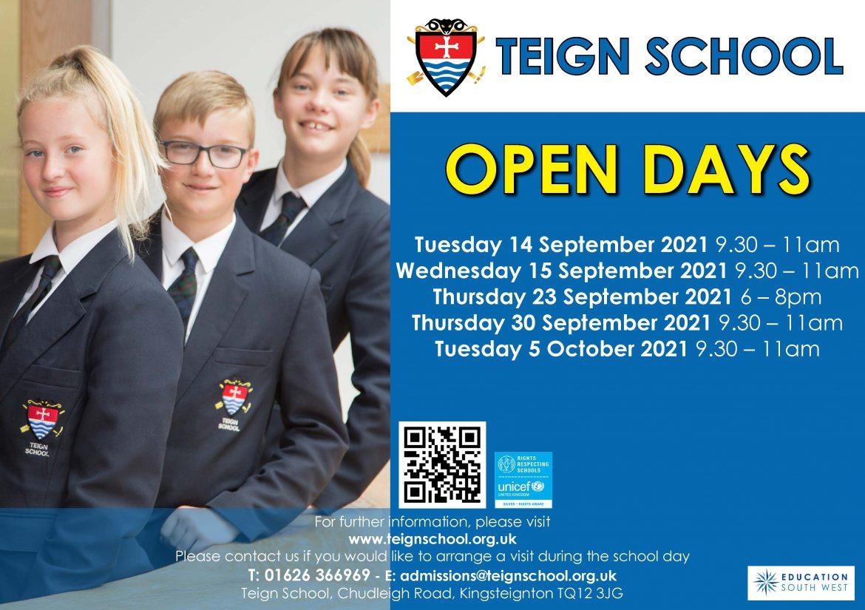 Teign School – September 2021 Open Days